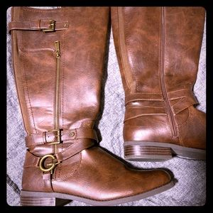 Guess brown knee high boots